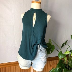 Free People Sleeveless Key Hole Green Tank Top